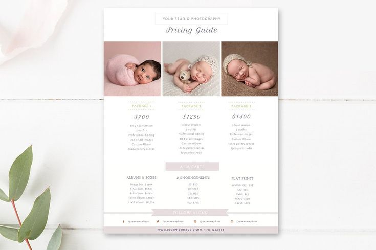 Newborn Pricing Template - Photography Pricing Guide - Price List - Digital Design Files - Photography Template - INSTANT DOWNLOAD by ByStephanieDesign on Etsy