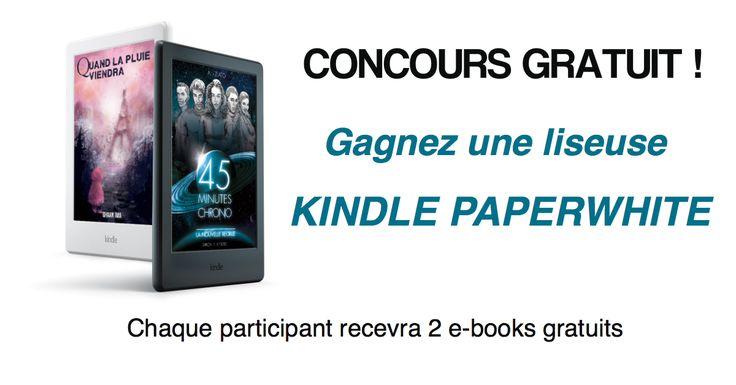 Jeu concours gratuit sans obligation d'achat où vous êtes déjà assuré(e) de gagner deux livres numériques gratuits, et où vous pourrez être tiré(e) au sort pour remporter le gros lot : une liseuse Kindle Paperwhite 6''.