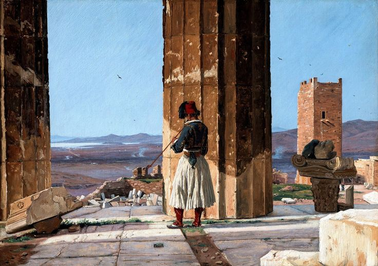 Martinus Rorbye (1803-1848)-View from the Parthenon Between the Bars with Smoking Greeks, 1835