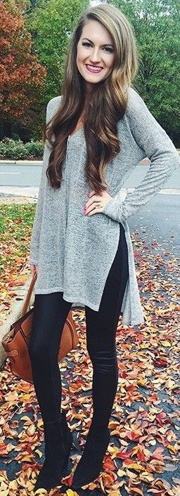 Side slit sweater.