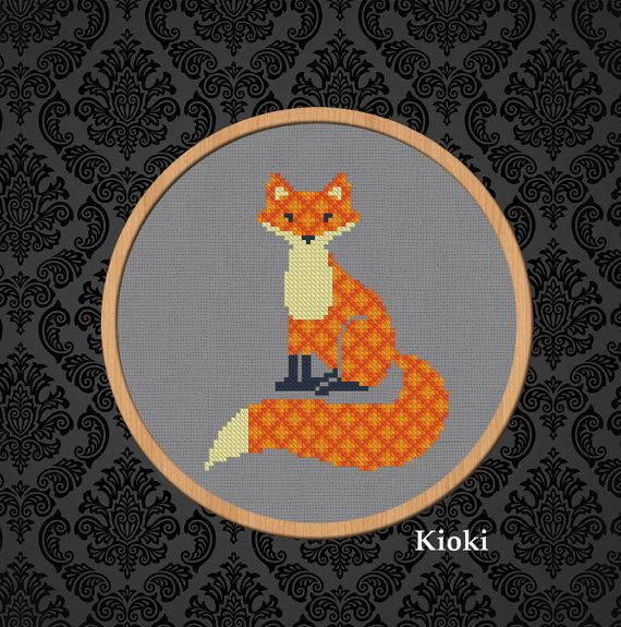 Inspiration Renard au point de croix. (Cross stitch pattern PDF Chart Counted Red fox with ornament) (https://www.etsy.com/ca-fr/listing/244173658/cross-stitch-pattern-pdf-chart-counted?ref=market)