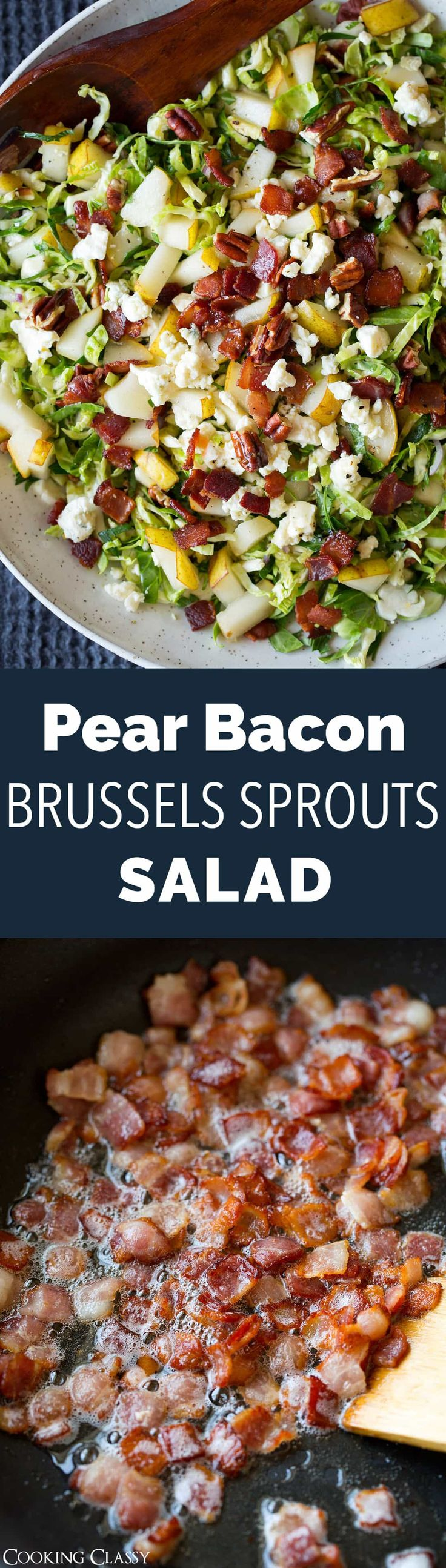 Pear Bacon and Brussels Sprout Salad - A delicious autumn pear salad that's brimming with bacon, nutty toasted pecans, tangy gorgonzola cheese, all with a base of finely shredded raw brussels sprouts. So delicious!