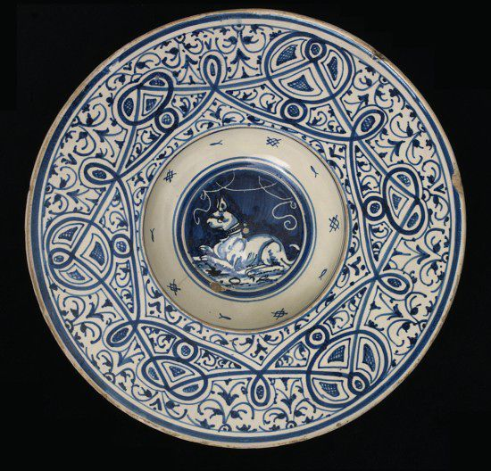Dish      Place of origin:      Faenza, Italy (made)     Date:      ca. 1525 (made)     Artist/Maker:      Unknown (production)     Materials and Techniques:      Tin-glazed earthenware     Credit Line:      Salting Collection, Bequethed by George Salting Esq.     Museum number:      C.2136-1910