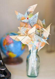 """""""Where will life take them?"""" pinwheel centerpiece. cute. Backyard Bride: 10 Creative Non-Floral Centerpieces"""