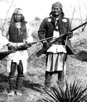 Fun - Apache.  Also known as Larry Fun. This famous photo of Geronimo taken in his stronghold down in Mexico before he surrendered.  The warrior at his side was called Fun. Not much is known about Fun or how he got his name, but it was said he was  the bravest of all Geronimo's warriors. Also, if you look closely he is in many of the more famous photos of Geronimo. After he was imprisoned with Geronimo in Ft Pickens, Florida, history obscurely records that FUN committed suicide, 1892.