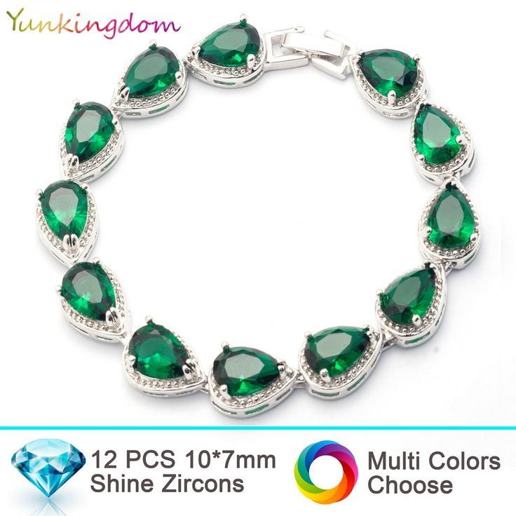 Yunkingdom NEW top quality Bracelets&Bangles for women inlay water drop AAA  zircon wedding Jewelry white gold filled Bracelets