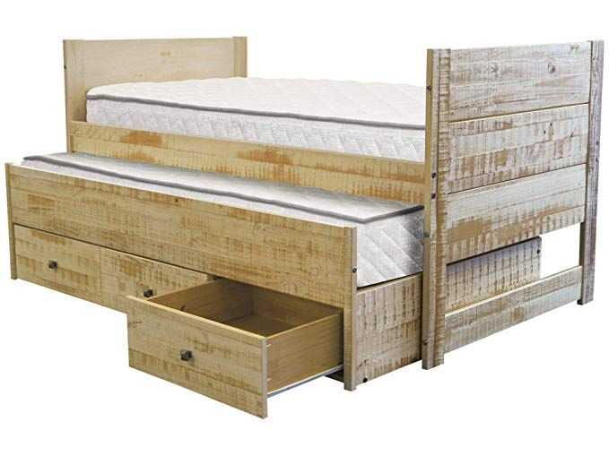 Amazon Com Bedz King All In One Twin Bed With Twin Trundle And 3 Built In Drawers Rustic Honey Kitchen Trundle Bed Twin Trundle Bed Captains Bed