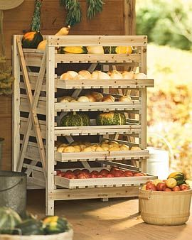I really want one of these, for storing dry goods, drying herbs I grow, storing my canning, etc. How fun! It would also be a great way to store fabrics!