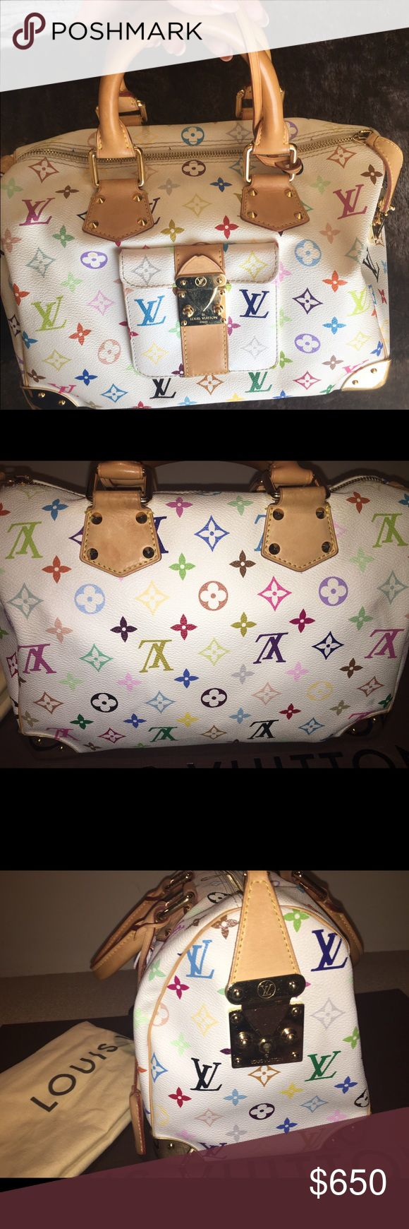 Louis Vuitton Speedy 30 multicolor Authentic bag in excellent condition purchased from Louis Vuitton store in San Diego, Ca. No stains on the exterior or interior and the leather handles still have a nice tan new color. Selling it because I just bought a new white Never full Louis bag and I can't keep them both. Louis Vuitton Bags Totes