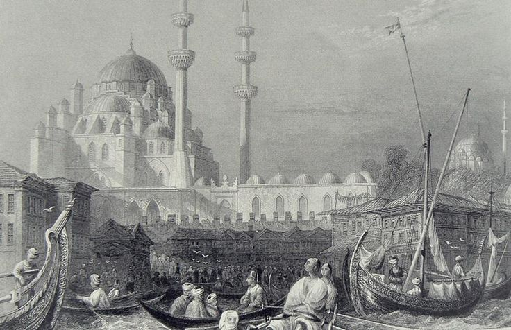 HALİÇ ALBÜMÜ: Eminönü kıyıları ve Yeni Cami'yi betimleyen gravür (W.H. Bartlett, 1835) #İstanbul #Haliç #Eminönü