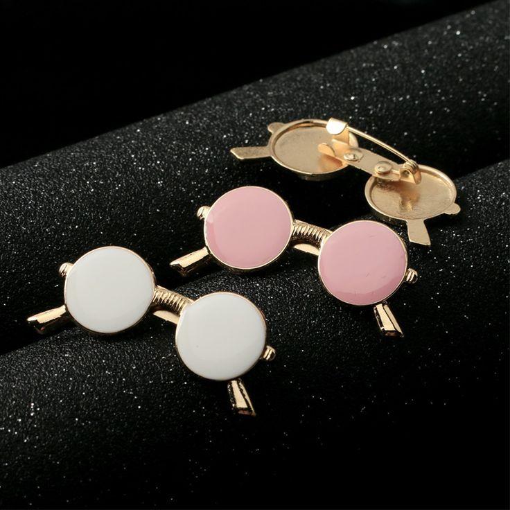 Wholesale Mdiger Men Jewelry Fashion Black Glasses Shaped Brooch Collar Pins for Men Shirt Brooch Lapel Pins for Men 10 PCS/LOT