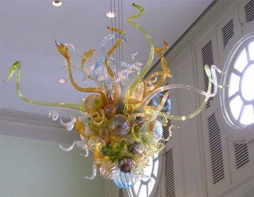 Turkish Style Custom Art Decoration Flower Design Blown Glass Cheap Chandelier