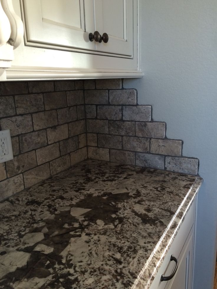 Silver Travertine Subway Tile With Charcoal Grout And