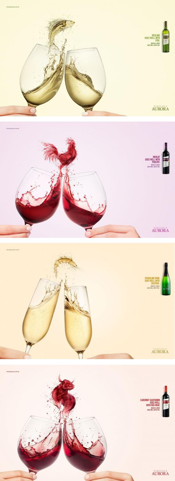 Great Advertisement Campaign for Aurora Wines -Do you like the visuals to cement food pairing ideas? #adv #creative #ads #marketing #print