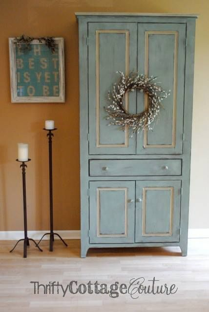 Armoire painted with a custom blend of Annie Sloan  Provence and Versailles Chalk Paints® with accents of Country Grey - Thrifty Cottage Couture