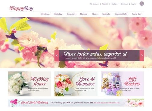OT Happyday is innovative Responsive Joomla template For Free Download. It design that can be a perfect choice for establishing a modern online Flower Shop,