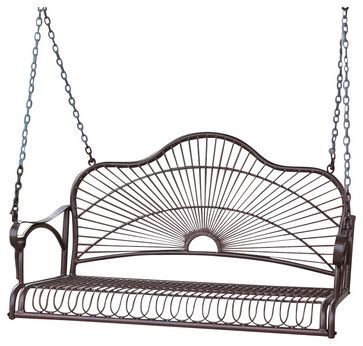 International Caravan Sun Ray Iron Porch Swing - transitional - Outdoor Chairs - Cymax