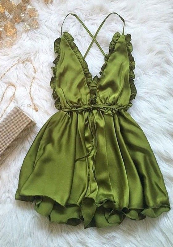 Army Green Plain Condole Belt Ruffle Cross Back Short Jumpsuit
