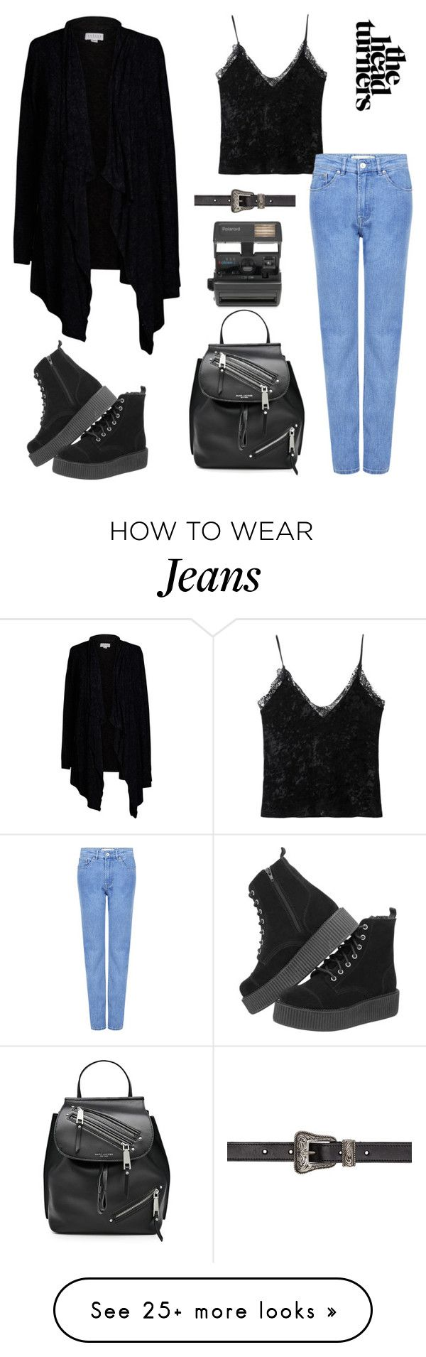 """""""head turner all black and jeans :)"""" by moumantai13 on Polyvore featuring Velvet by Graham & Spencer, Être Cécile, Marc Jacobs, Yves Saint Laurent and Impossible"""