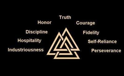 Viking symbol and its meaning...technically,this is the Walknot,which is a symbol of a warrior; whereas the words are the nine Noble Truths of Viking culture. Still,as the Walknot has nine points,I like it as a visual representation of those virtues nonetheless. by janell