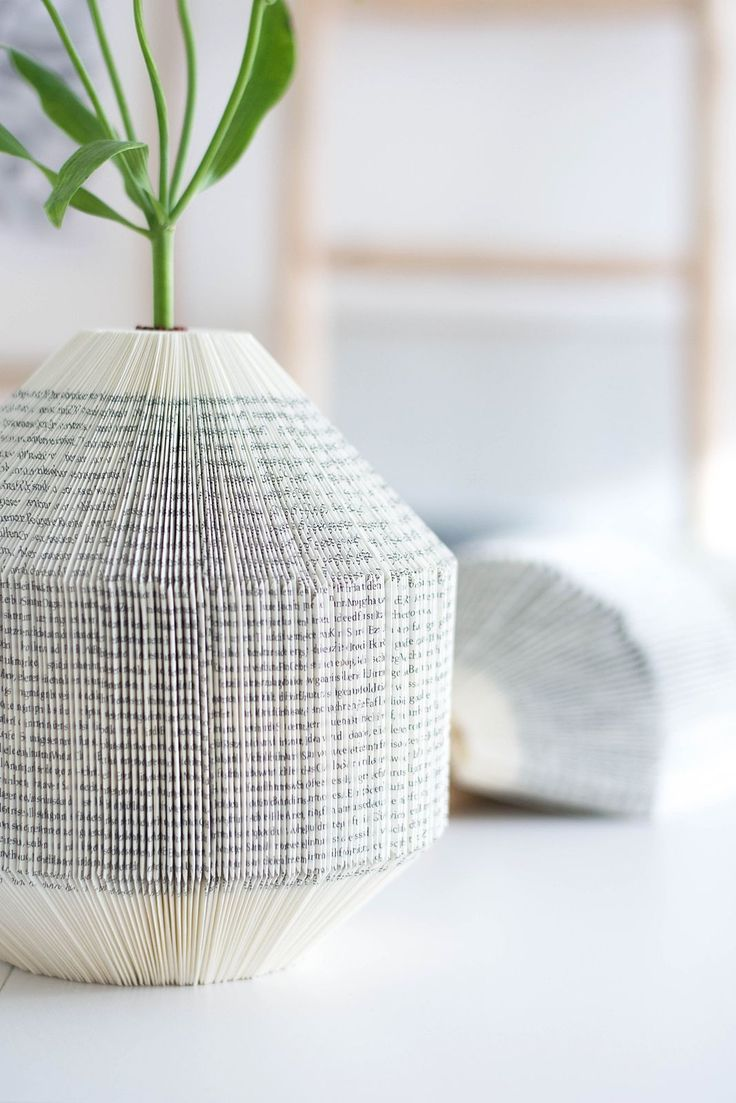 DIY Paper Vase - using pages from a book to create a vase