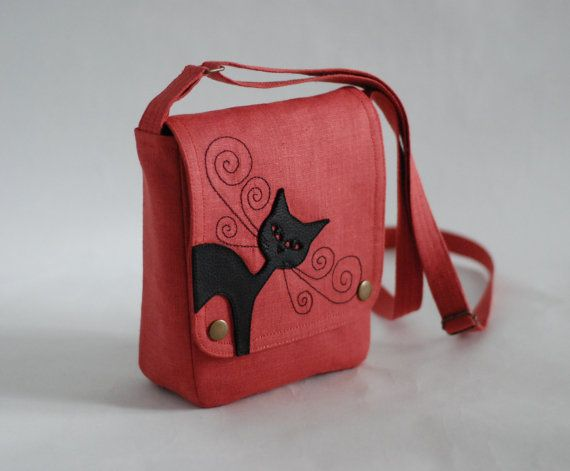 Small linen messenger bag - salmon pink - leather cat applique. $27.00, via Etsy.