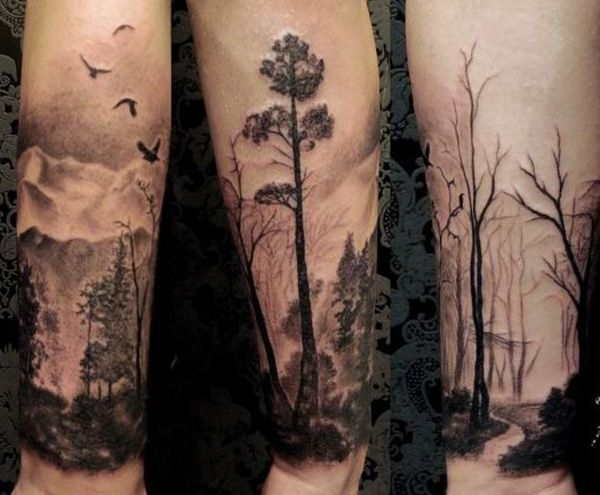 From a living forest to an eerie dead one. Even in the stark difference, both designs are calming and can show spirituality.