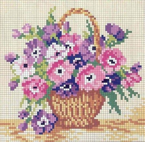 Basket of flowers cross stitch pattern.