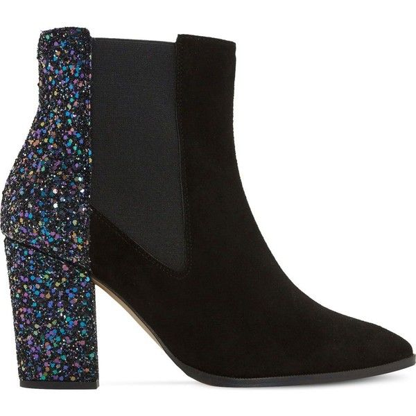 Dune Order glitter and suede chelsea boots (5,095 INR) ❤ liked on Polyvore featuring shoes, boots, ankle booties, ankle boots, black suede bootie, black pointed toe booties, block heel booties and black ankle boots