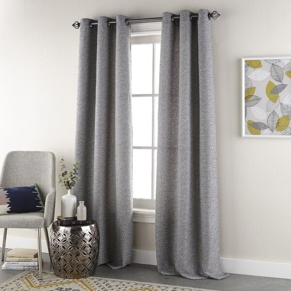 Constantine Woven Solid Color Room Darkening Grommet Curtain