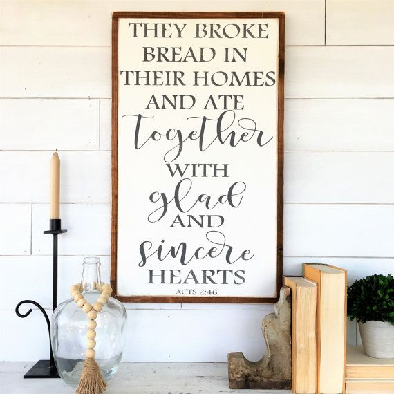 They broke bread in their homes and ate by WallArtShowcase on Etsy