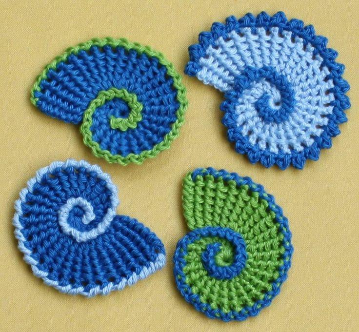 Sea Shell Applique – crochet pattern, PDF in English, Deutsch