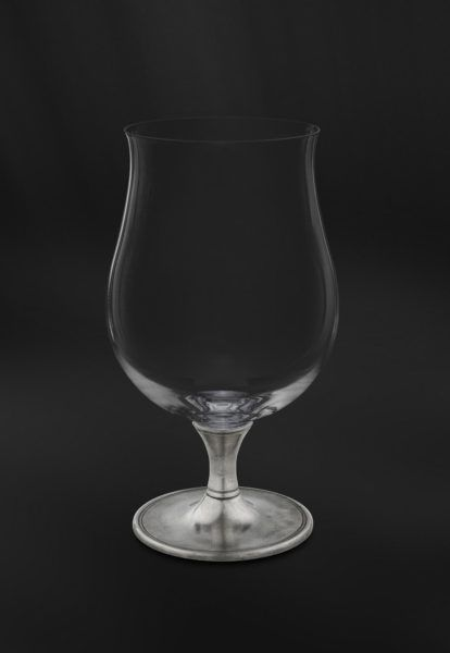 Crystal & Pewter Beer Glass - Height: 18,5 cm (7,3″) - Food Safe Product - #pewter #crystal #beer #glass #peltro #cristallo #bicchiere #birra #zinn #kristallglas #bierglas #étain #etain #cristal #verre #bière #peltre #tinn #олово #оловянный #glassware #drinkware #barware #accessories #decor #design #bottega #peltro #GT #italian #handmade #made #italy #artisans #craftsmanship #craftsman #primitive