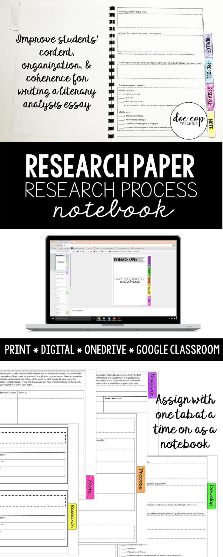 "Guides students through the five major progressions of the research project: discovering their topic, developing their focus for their research, proposing their thesis, researching their sources, and notetaking from their sources. It includes a print .pdf format to use as a hardcopy tab book. It also is designed to move from a traditional ""notecard"" research system to a digital version, which means no more notecards!"