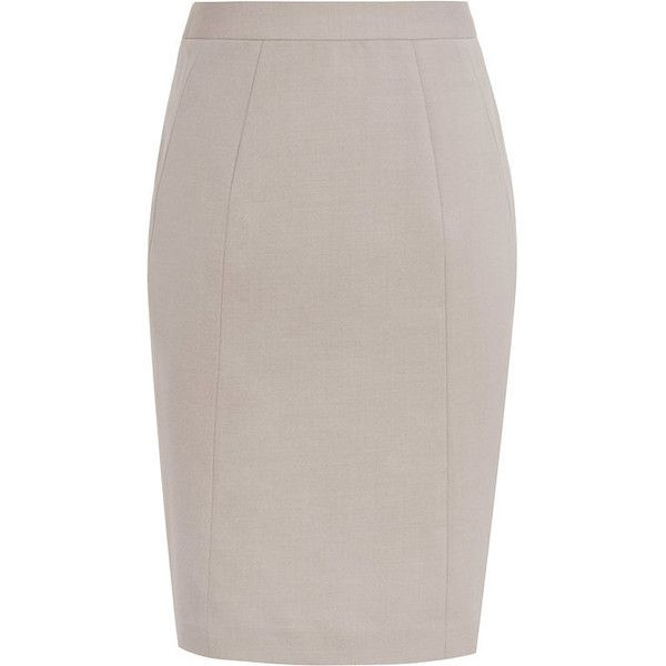 TAILORED PENCIL SKIRT (222,535 KRW) ❤ liked on Polyvore featuring skirts, beige skirt, pencil skirt, knee length pencil skirt and beige pencil skirt
