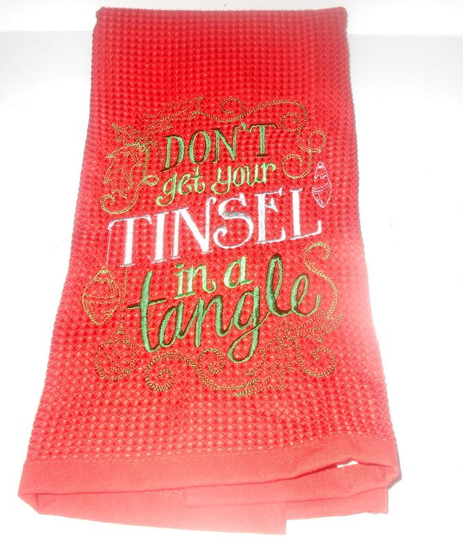 Don't Get Your Tinsel In A Tangle Embroidered Christmas Towel