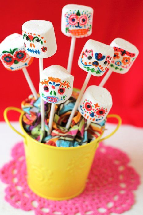 Day of the Dead Marshmallow Sugar Skull Pops - mom.me [ MexicanConnexionForTile.com ] #DayoftheDead #Talavera #handmade