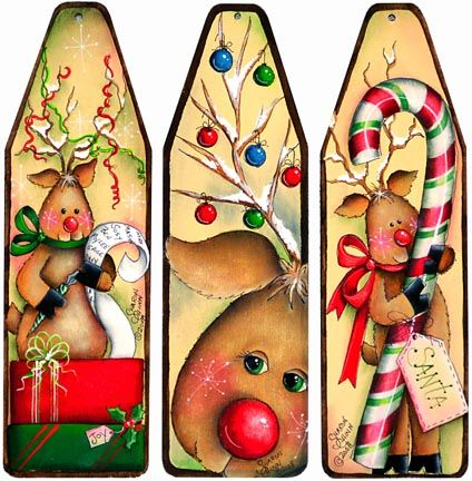 The Decorative Painting Store: More Reindeer Antics Mini-Ironing Board Ornaments, Sharon Chinn