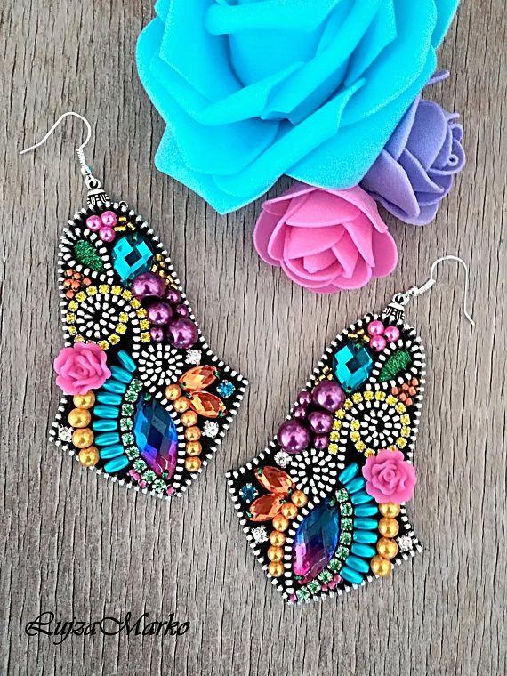 Multicolor long zipper earrings