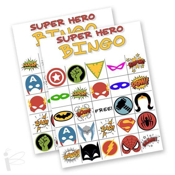 FREE Printable Superhero Bingo Game  - Perfect for parties and games in the superhero theme classroom!
