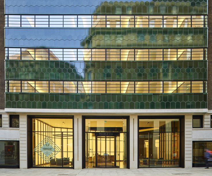 One New Oxford Street London, Commonwealth House, Green Pyrolave UK Bricks/Tiles. Architect Orms.