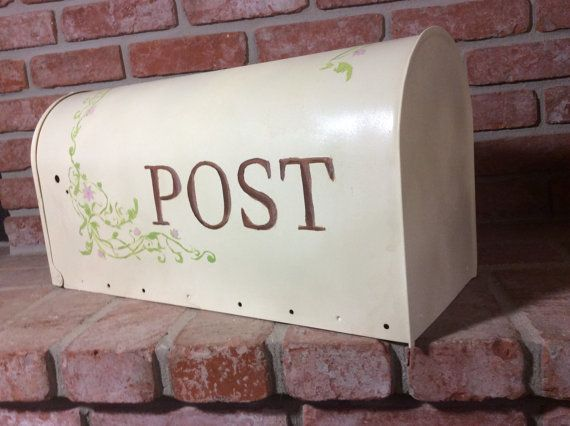 Ivory Rural Mailbox  Large  metal mailBox ivy by PaintedbyYvette