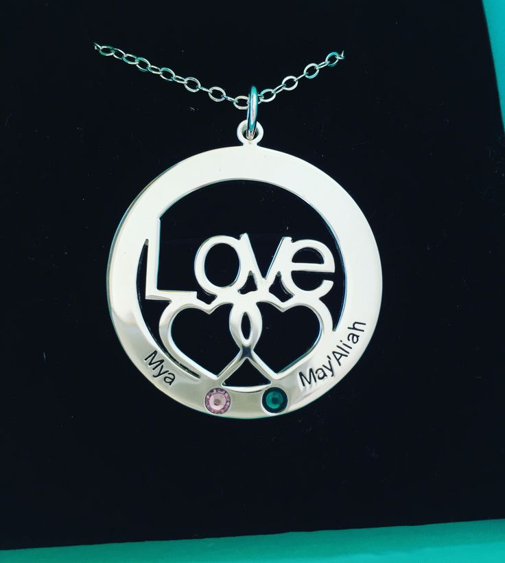Sterling Silver Engraved Two Names with Birthstone Necklace