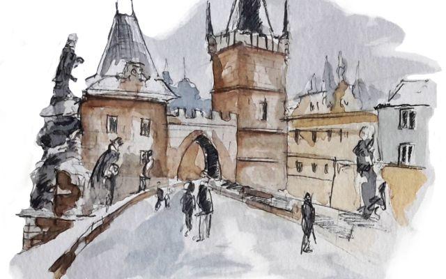 Praga, il ponte Carlo ed i Vodnik. Disegni e parole #praga #pontecarlo #vodnik #viaggio