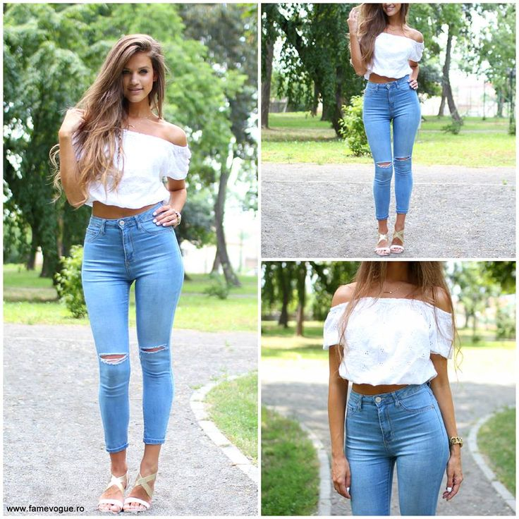 Ripped #jeans and romantic top..:) Available at www.famevogue.ro  #casual #style #fashion