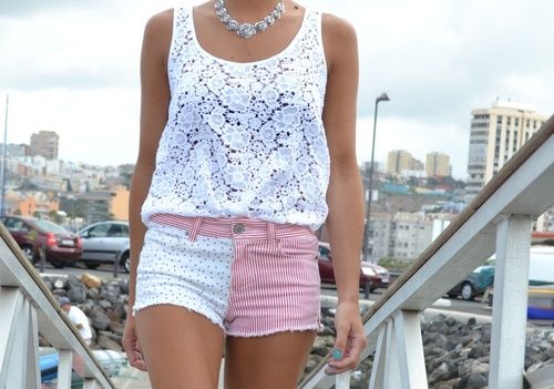 : Summer Style, Fashion Outfits, Adorable Clothing, Shorts, Outfits Ideas, Lace Tanks, T Shirts, Cut Outs, Lacey Things