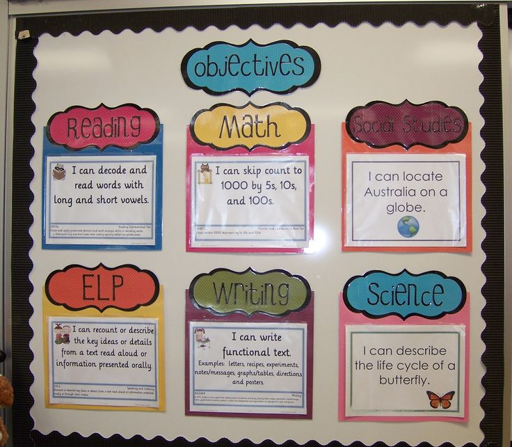 Love this to display objectives. Laminate everything together and just slide new papers in the page protectors each day.