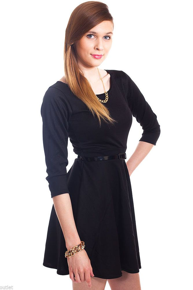 Black Plain Belted Skater Dress