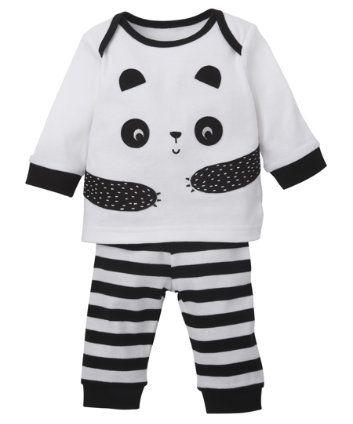 Mothercare Unisex Black and White Panda Pyjamas