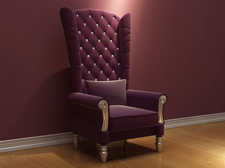 Purple High Back Single Sofa Chair